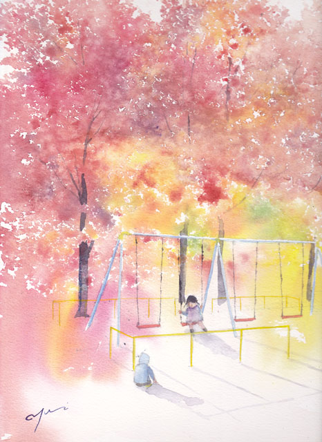 11月産経学園透明水彩「楓公園」
