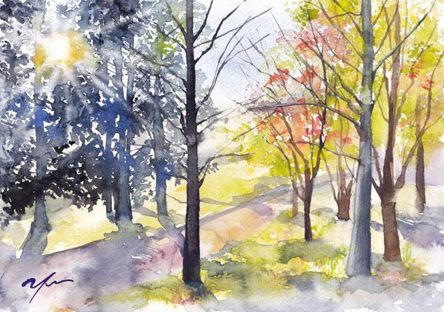 11月水彩色えんぴつ風景画コース「秋の陽射し」