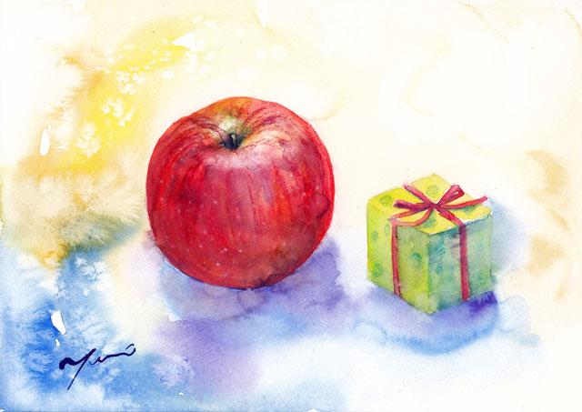 12月水彩色えんぴつ教室「Apple& Box 」