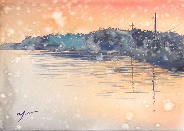 12月水彩色えんぴつ風景画コース「朝の雪」