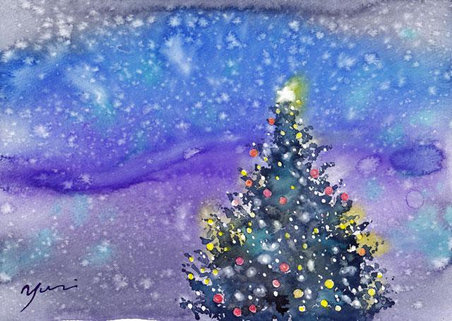 12月水彩色えんぴつ「クリスマスの夜」