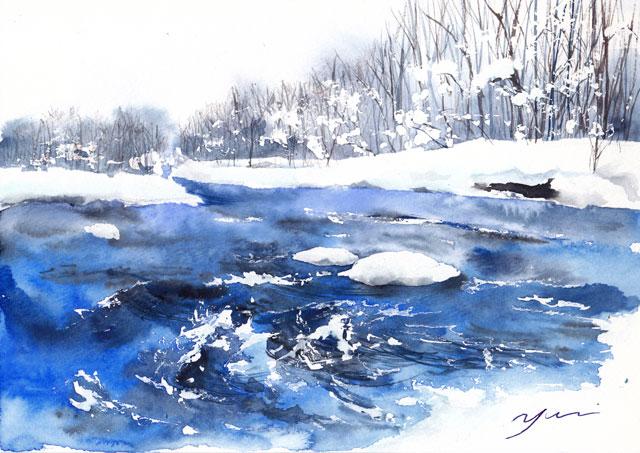 1月水彩色えんぴつ風景画コース「冬川」