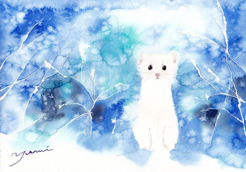 1月水彩色えんぴつ教室 風景画コース「powdery snow」