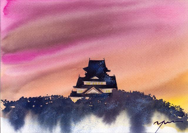2月水彩色えんぴつ風景画コース「大阪城」