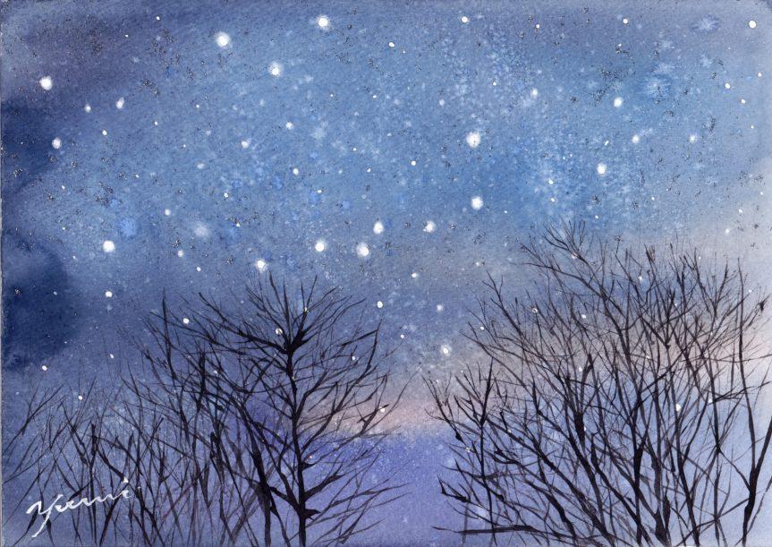2月水彩色えんぴつ教室「星空」