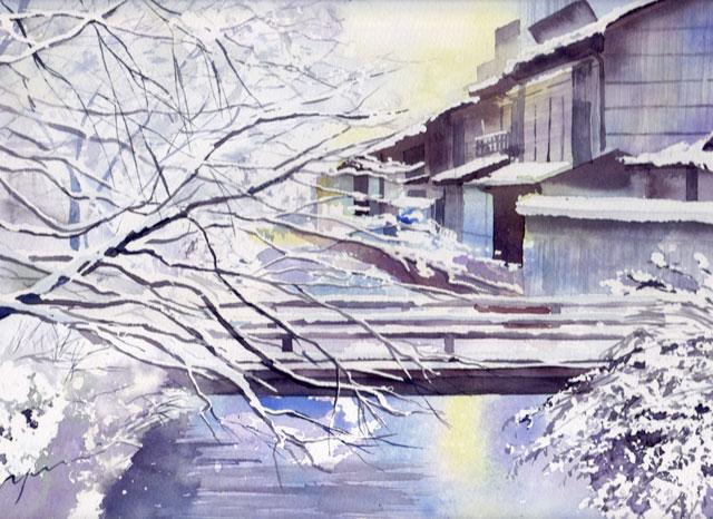 2月産経学園風景画コース「雪の朝」