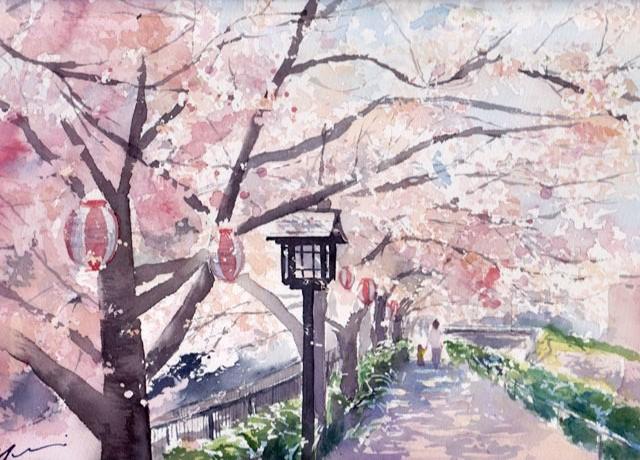3月産経学園透明水彩「小浜桜」