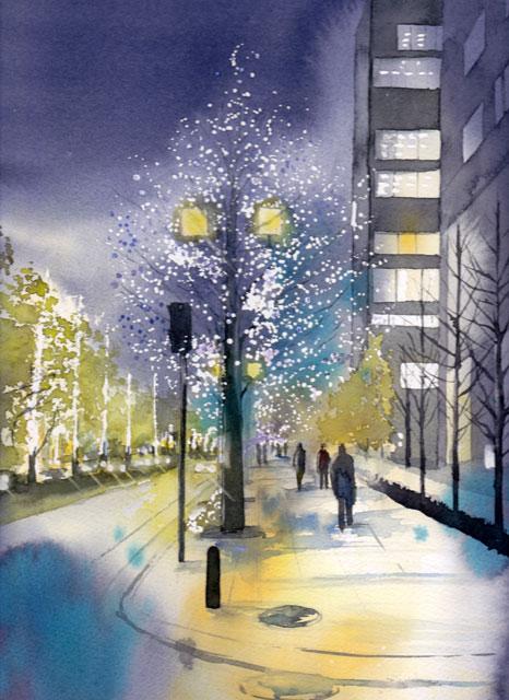 3月産経学園透明水彩「Illumination」