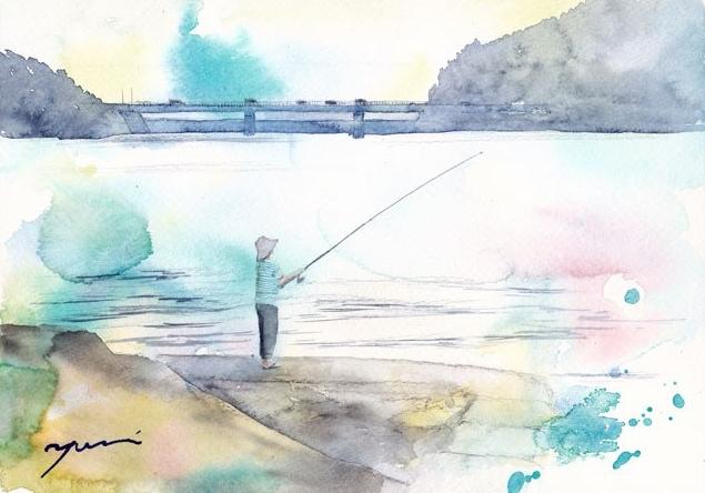 3月水彩色えんぴつ風景画コース「はるの海」