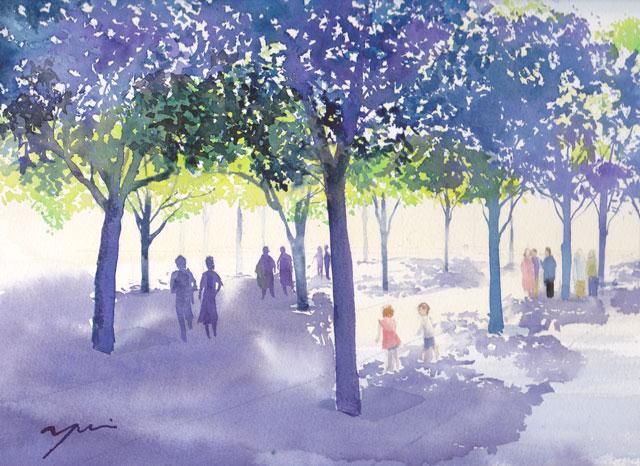 4月産経学園 透明水彩「木の下で」