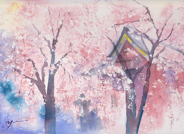 4月産経学園 透明水彩「散りゆく」