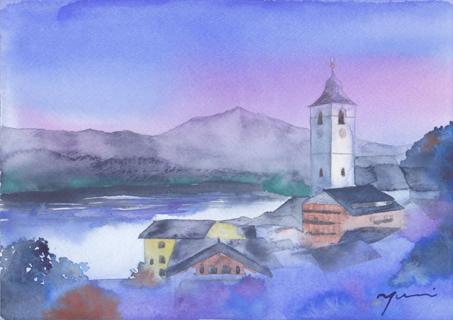 5月水彩色えんぴつ 風景画コース 「ウォルフガング湖」 オーストリア