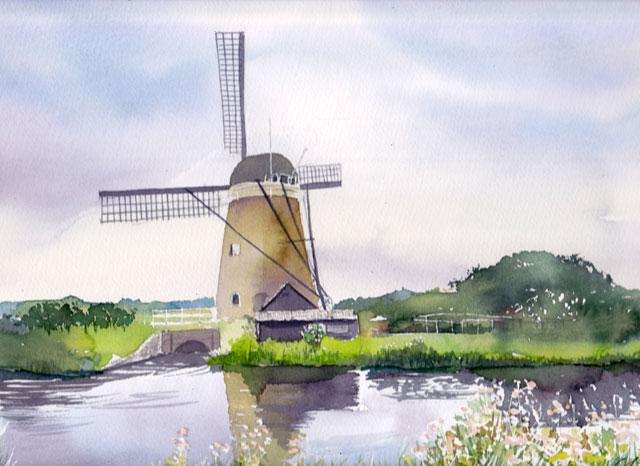 5月産経学園透明水彩「水車ある風景」