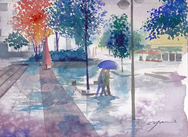 6月産経学園 透明水彩「ドイツ 雨のフルダ」
