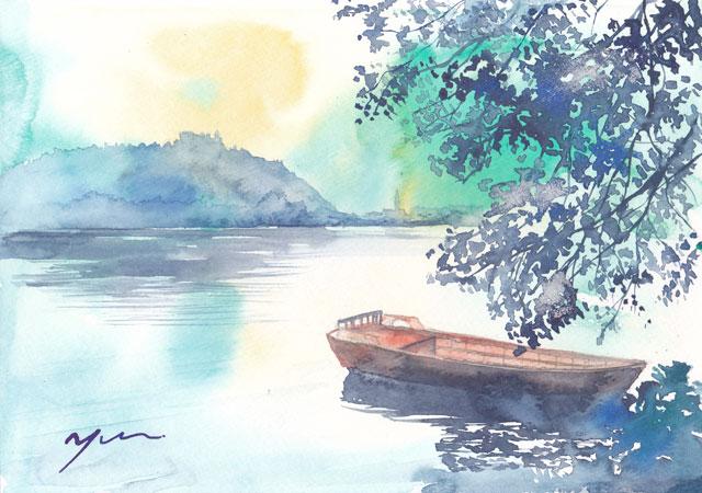 6月水彩色えんぴつ風景画コース「ブレッド湖」