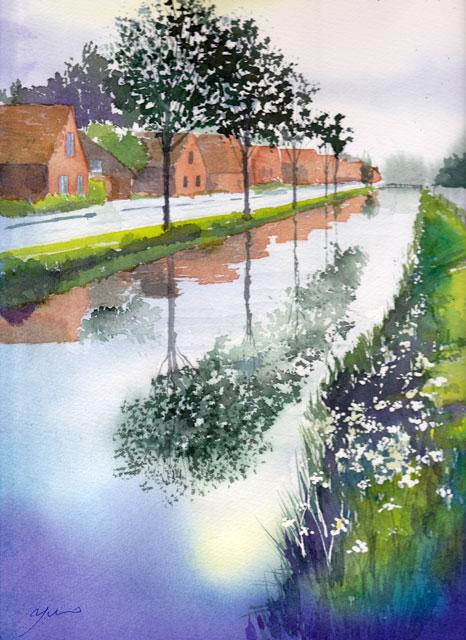 6月産経学園 透明水彩「水路のある風景」