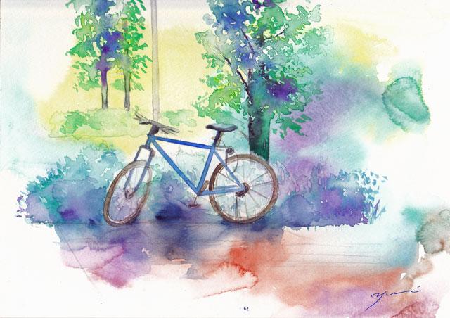 6月水彩色えんぴつ教室「自転車」