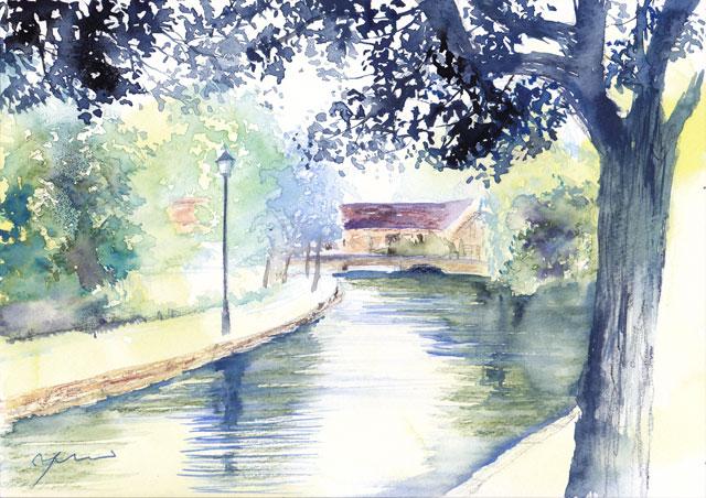 7月水彩色えんぴつ 風景画コース「バートン・オン・ザ・ウォーター イギリス」