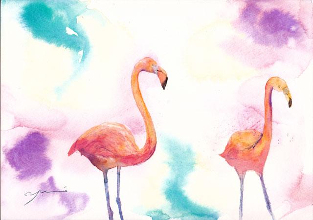 7月水彩色えんぴつ教室 フラミンゴ
