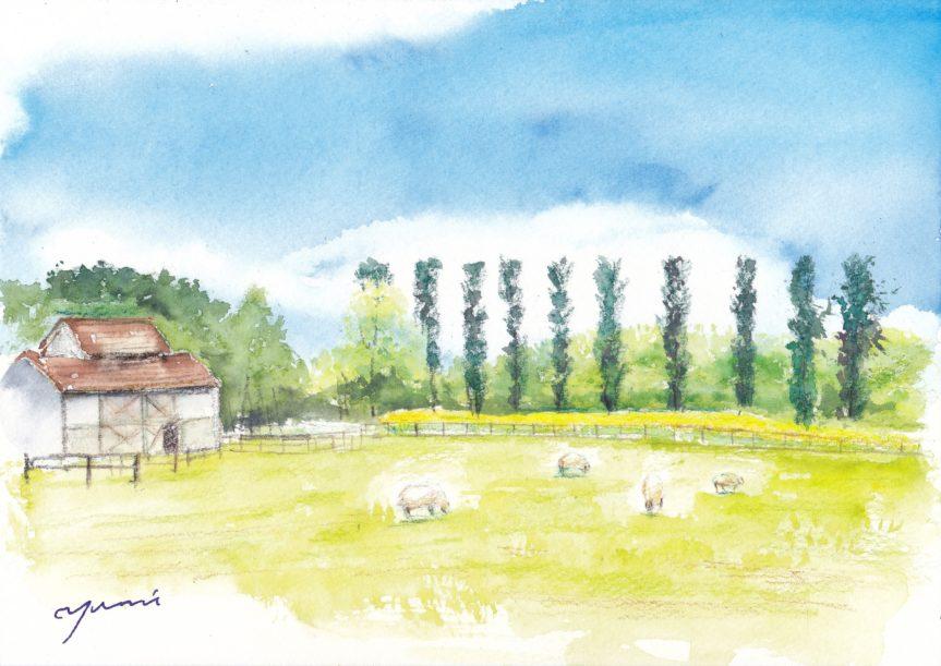 8月水彩色えんぴつ風景画コース「牧場」