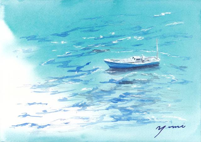 8月水彩色えんぴつ教室 鳴門海峡と舟