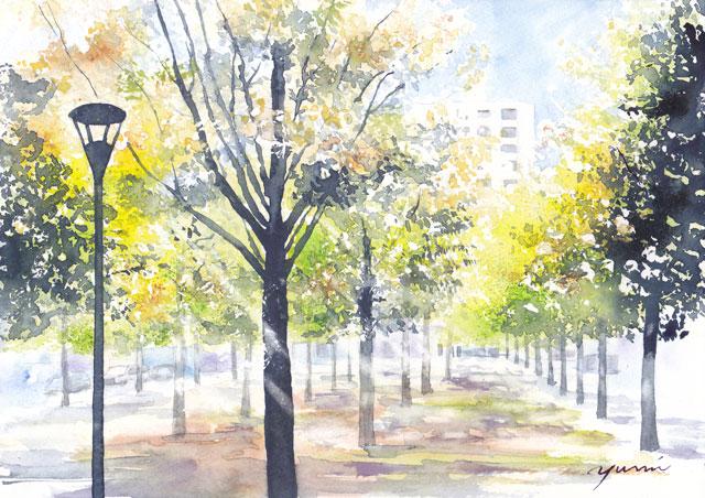 9月水彩色えんぴつ 風景画コース「ザルツブルクの木陰で」