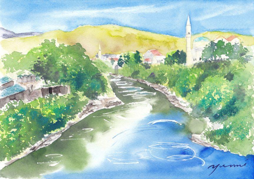 9月水彩色えんぴつ風景画コース「モスタル ボスニア・ヘルツェゴビナ」