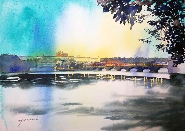 10月産経学園透明水彩「プラハの夜更け」