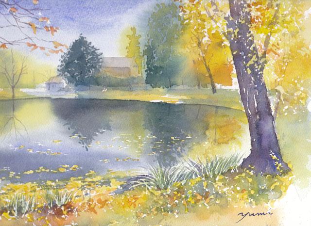 11月産経学園 透明水彩「秋の水辺」
