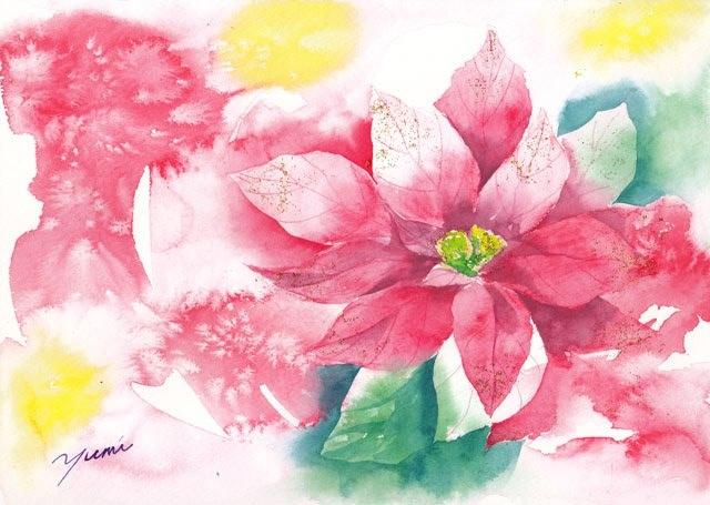 12月水彩色えんぴつ教室「ポインセチア」