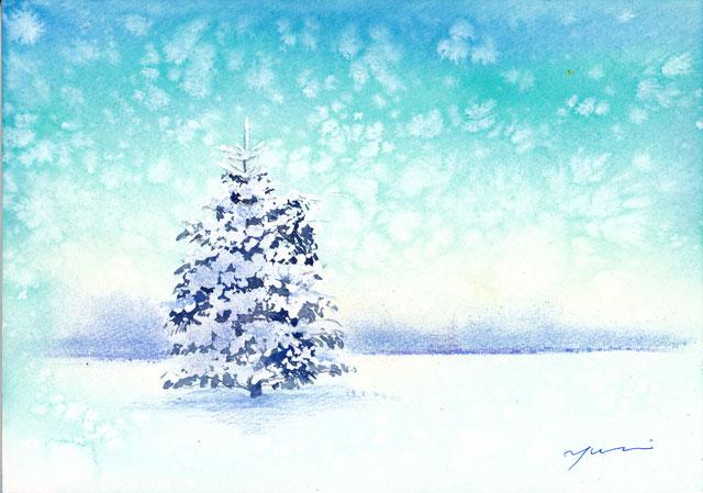12月水彩色えんぴつ教室「snow tree」