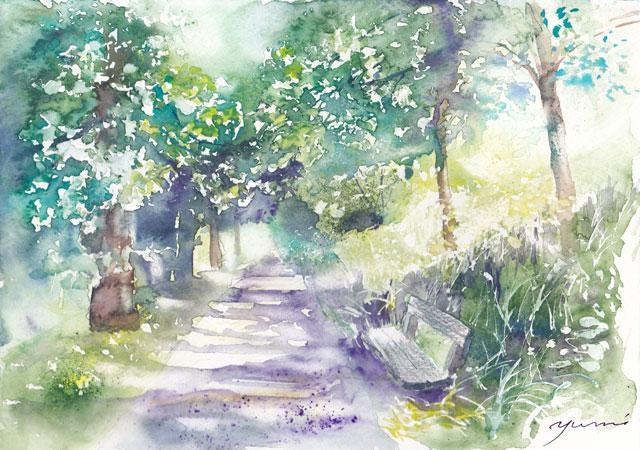 3月水彩色えんぴつ風景画コース 「木立のむこう」
