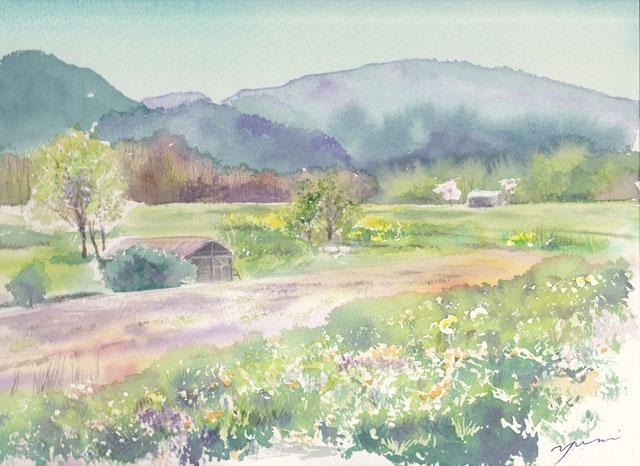 4月産経学園透明水彩「安曇野の春」