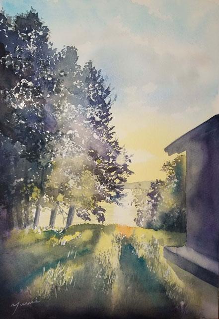 5月産経学園 透明水彩「陽が昇る時間」