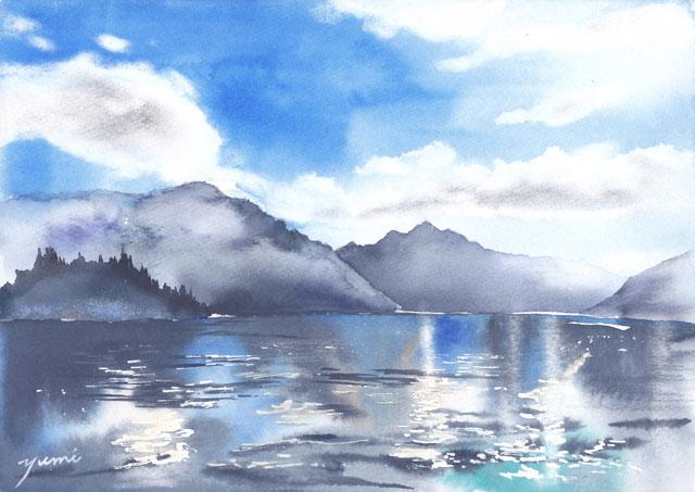 6月水彩色えんぴつ 風景画コース「ニュージランド湖」