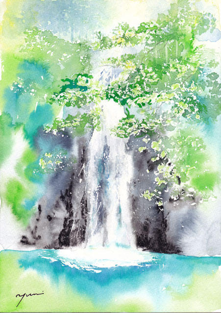 7月水彩色えんぴつ風景画コース「滝」