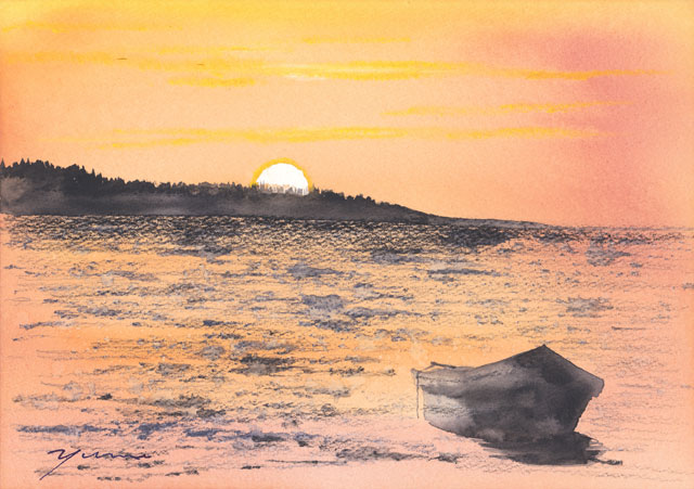 8月水彩色えんぴつ風景画コース「夏海」