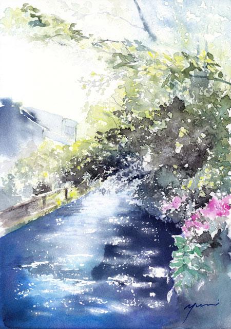 8月水彩色えんぴつ 風景画コース「京都祇園白川」