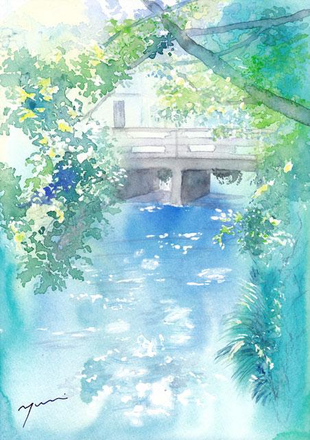 9月水彩色えんぴつ風景画コース「川辺」