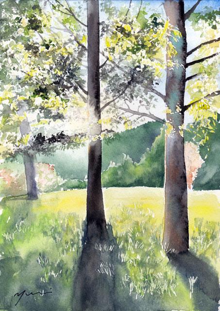 11月水彩色えんぴつ風景画コース「秋陽光」