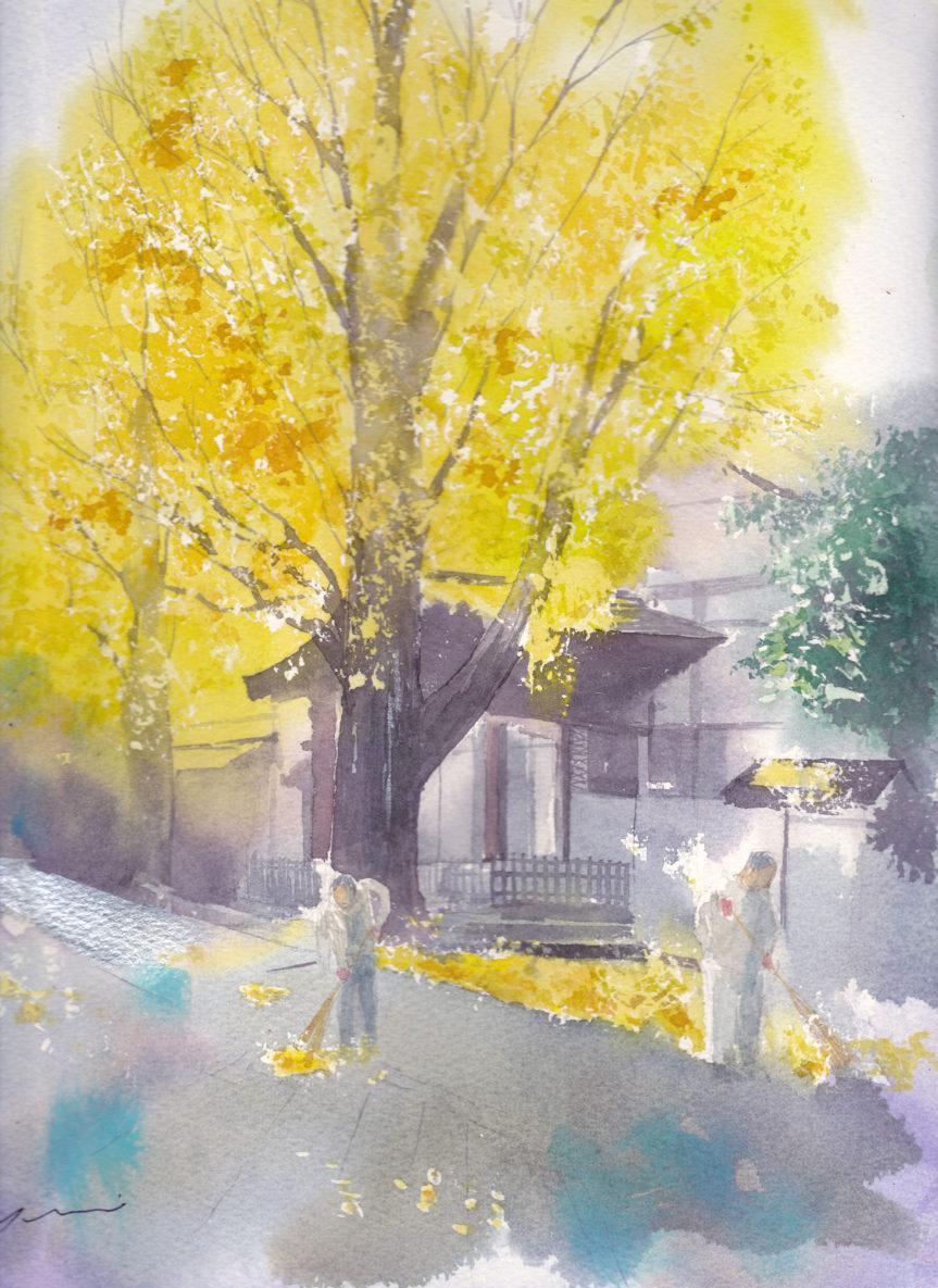 12月産経学園透明水彩「清荒神の銀杏」