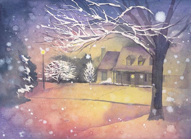 12月産経学園透明水彩「Winter night」