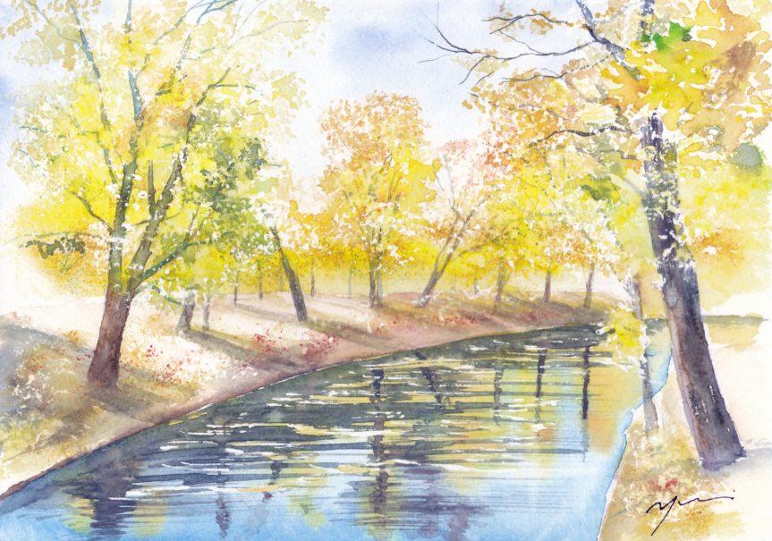 12月水彩色えんぴつ風景画コース「Yellow day」