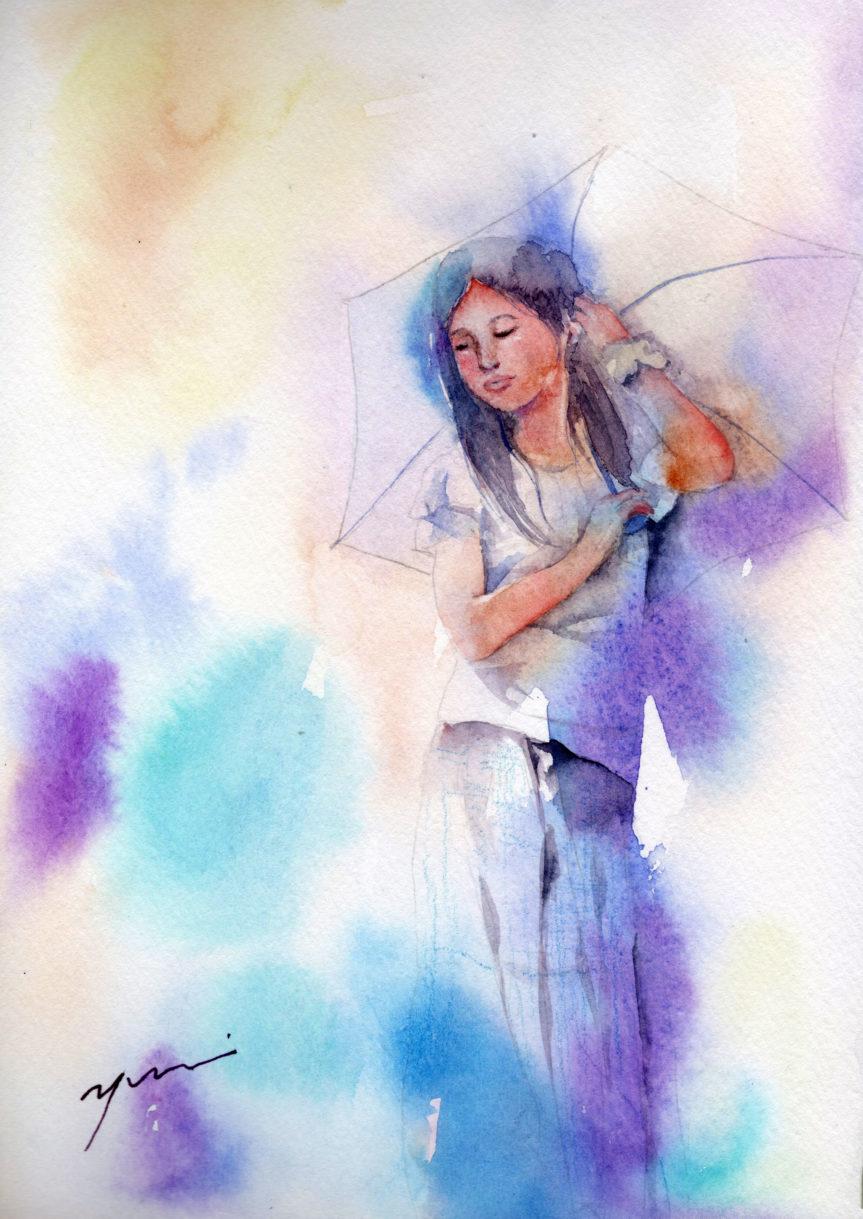 8月水彩色えんぴつ教室「日傘の少女」