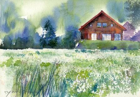 9月の水彩色えんぴつ教室 風景画コース