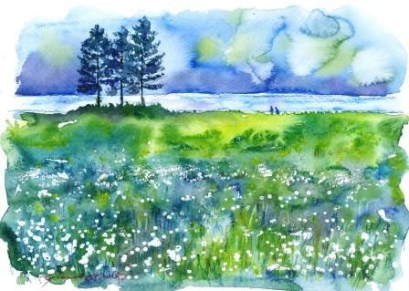 7月の朝日カルチャーセンター 風景画コース