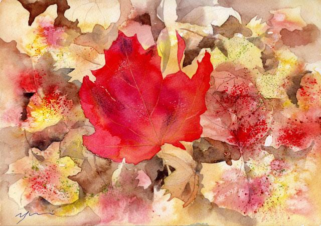 10月水彩色えんぴつ教室「Fallen leaves」