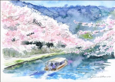 3月水彩色えんぴつ 朝日カルチャー・風景画コース