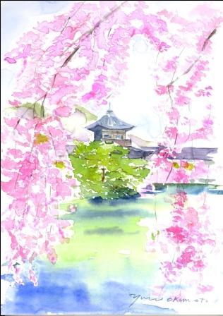 4月水彩色えんぴつ 朝日カルチャー・風景画