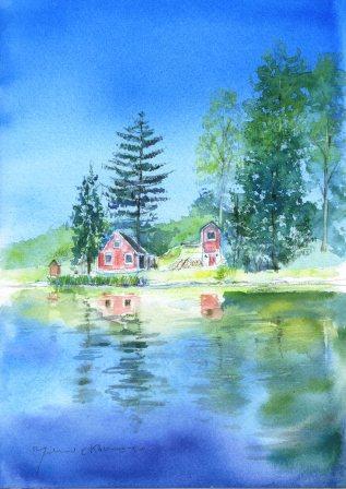 8月の朝日カルチャー 風景画コース